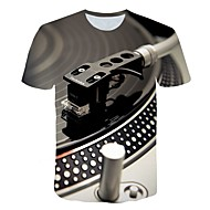 billige -Herre Plusstørrelser T-shirt Grafisk Maskine Trykt mønster Toppe overdrevet Rund hals Gul Grøn Marineblå / Kortærmet / Sommer