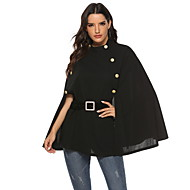 Women's Daily Fall & Winter Regular Cloak / Capes, Solid Colored Round Neck Long Sleeve Polyester Black
