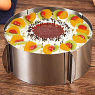 cheap -1pc Stainless Steel Adjustable DIY Everyday Use Cake Round Cake Molds Bakeware tools