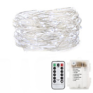 economico -5m Fili luminosi 50 LED Bianco caldo Colori primari Bianco Decorazione di nozze di Natale Batterie alimentate