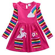 お買い得  -子供 女の子 活発的 Unicorn 幾何学模様 動物 プリント 長袖 膝上 ドレス ブルー
