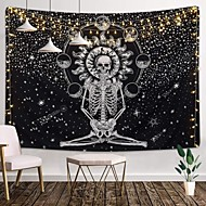 cheap -Wall Tapestry Art Decor Blanket Curtain Picnic Tablecloth Hanging Home Bedroom Living Room Dorm Decoration Tarot Halloween Skull Meditation Skeleton Chakra Starry Black White Star