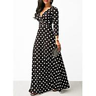 Women's A Line Dress - Polka Dot Black S M L XL