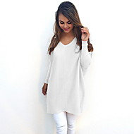 Women's Solid Colored Long Sleeve Pullover Sweater Jumper, V Neck Black / White / Yellow S / M / L