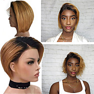 Remy Human Hair 4x13 Closure Wig Bob Middle Part style Brazilian Hair Straight Wig 130% Density Women Best Quality New New Arrival Hot Sale Women's Short Human Hair Lace Wig Human Hair Extensions