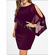 Basic T Shirt Dress - Women's Solid Colored Sequins Patchwork Black Purple Wine XXXL XXXXL XXXXXL