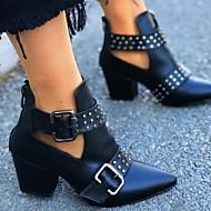 저렴한 -여성용 부츠 청키 굽 뾰족한 발가락 PU 부티 / 앵클 부츠 가을 겨울 블랙 / 화이트 / 레드