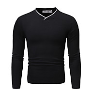 Men's Color Block Solid Colored Polo - Cotton Basic Daily V Neck White / Black / Dark Gray / Long Sleeve