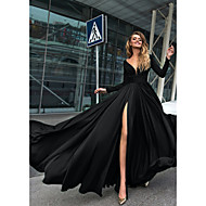povoljno -A-kroj Podignuti Minimalistički Praznik Formalna večer Haljina V izrez Dugih rukava Do poda Šifon s Prednji izrez 2020