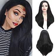 Synthetic Lace Front Wig Straight Matte Kardashian Free Part Lace Front Wig Long Black#1B Synthetic Hair 24 inch Women's Heat Resistant Synthetic Hot Sale Black