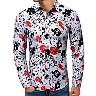 Men's Daily Weekend Basic / Elegant Shirt - Solid Colored / Floral White
