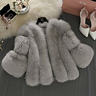 Women's Daily Fall & Winter Regular Faux Fur Coat, Solid Colored V Neck Long Sleeve Faux Fur White / Blushing Pink / Gray