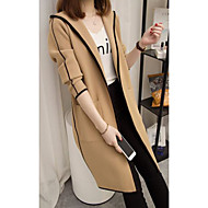 Women's Daily Basic Spring &  Fall Long Coat, Solid Colored Hooded Long Sleeve Acrylic Black / Khaki