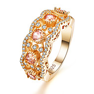 Women's Band Ring Ring Cubic Zirconia 1pc Pink Champagne Brass Copper Gold Plated Round Personalized Stylish Luxury Holiday Jewelry Classic Joy Blessed Cute Heart Cool / Rose Gold Plated