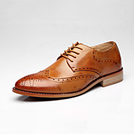 Men's Comfort Shoes Leather Fall Casual Oxfords Wear Proof Black / Brown / Burgundy / Party & Evening