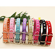 Cat Dog Collar Adjustable / Retractable Studded Character Rhinestone PU Leather Red Blue Pink