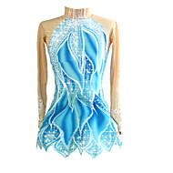 povoljno -Haljina za klizanje Žene Djevojčice Korcsolyázás Haljine Blue / Bijela Rastezljivo Natjecanje Odjeća za klizanje Ručno izrađen Klasika Dugih rukava Klizanje na ledu Umjetničko klizanje