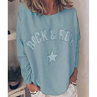 Women's Daily T-shirt - Letter Light Blue