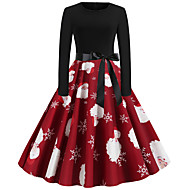 Women's Christmas Basic A Line Dress - Solid Colored Print Red S M L XL
