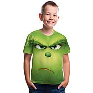 Kids Toddler Boys' Active Basic Fantastic Beasts Geometric Print Color Block Print Short Sleeve Tee Green