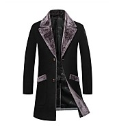 Men's Daily Regular Coat, Solid Colored Rolled collar Long Sleeve Polyester Black / Light gray / Navy Blue