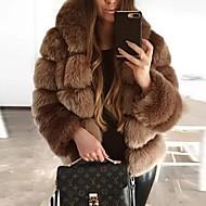 Women's Daily Fall & Winter Regular Faux Fur Coat, Solid Colored Hooded Long Sleeve Faux Fur Black / Brown / Dark Gray