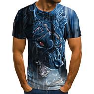 T-skjorte Herre - Geometrisk / 3D / Dyr, Flettet / Trykt mønster Gatemote Ulv Blå