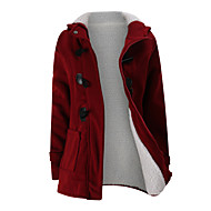 Women's Daily / Going out Basic Fall & Winter Long Coat, Solid Colored Hooded Long Sleeve Cotton / Wool Blend Patchwork Black / Wine / Light gray