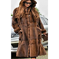 cheap -Women's Party / Daily Basic Fall & Winter Long Faux Fur Coat, Solid Colored Stand Long Sleeve Faux Fur Brown / Oversized