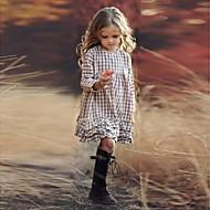 preiswerte -Kinder Mädchen Hahnentrittmuster Druck Langarm Knielang Kleid Beige