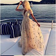 Women's Elegant Sheath Dress - Abstract Beige S M L XL