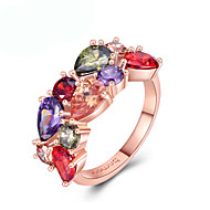 Women's Ring AAA Cubic Zirconia 1pc Rose Gold Rose Gold Plated Unique Design European Trendy Gift Daily Jewelry Floral Theme Cute