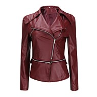Women's Daily Fall & Winter Regular Leather Jacket, Solid Colored Turndown Long Sleeve PU Wine