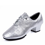 Women's Dance Shoes Microfiber Jazz Shoes Heel Thick Heel Gold / Silver / Performance