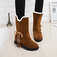 Women's Boots Snow Boots Hidden Heel Round Toe Bowknot / Tassel Satin Mid-Calf Boots Casual / Sweet Walking Shoes Fall & Winter Black / Red / Khaki