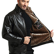 Men's Daily Regular Leather Jacket, Solid Colored Stand Long Sleeve PU Black / Brown