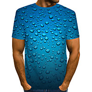 Men's Daily Beach Street chic / Exaggerated T-shirt - Color Block / 3D Print Blue