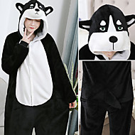 Adults' Kigurumi Pajamas Husky Onesie Pajamas Flannelette Black / White Cosplay For Men and Women Animal Sleepwear Cartoon Festival / Holiday Costumes