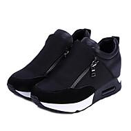 ราคาถูก -สำหรับผู้หญิง รองเท้ากีฬา ส้นแบน ปลายกลม ผ้าใบ สำหรับวิ่ง ฤดูใบไม้ร่วง & ฤดูหนาว สีดำ / แดง