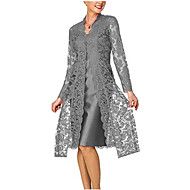preiswerte -Damen Für Mutter Spitze Zweiteiler Kleid - Spitze, Solide Knielang V-Ausschnitt