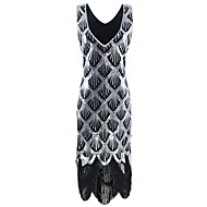 The Great Gatsby 1920s Vintage Inspired Flapper Costume Dress Party Costume Women's Sequins Tassel Sequin Costume Silver Vintage Cosplay Party Party & Evening Sleeveless Knee Length