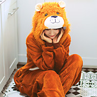 Adults' Kigurumi Pajamas Lion Onesie Pajamas Flannelette Brown Cosplay For Men and Women Animal Sleepwear Cartoon Festival / Holiday Costumes
