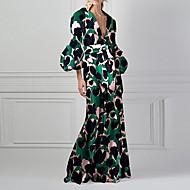 Women's Elegant A Line Dress - Geometric Green S M L XL