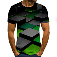 Men's Weekend Street chic T-shirt - Geometric / Color Block / 3D Pleated / Print Green