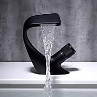preiswerte -Wasservoll Waschbecken Wasserhahn Einhandgriff ein Loch schwarz und Chrom Farbe gebogene Form