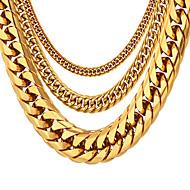 hesapli -Erkek Zincir Kolyeler Kalın Zincir Kutu Zinciri franco zinciri Moda Hip Hop Paslanmaz Çelik Siyah Altın Gümüş 55 cm Kolyeler Mücevher 1pc Uyumluluk Hediye Günlük