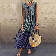 Women's Chiffon Dress - Color Block Print Light Blue Blue Red M L XL XXL