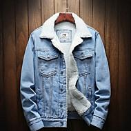 Men's Daily Fall & Winter Regular Denim Jacket, Solid Colored Turndown Long Sleeve Polyester Black / Light Blue / Blue