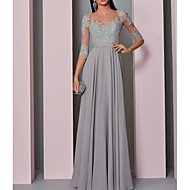 A-Line Boat Neck Floor Length Chiffon / Lace Open Back Formal Evening Dress with Buttons / Lace Insert by LAN TING Express