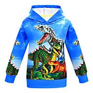 Kids Boys' Basic Dinosaur Print Print Long Sleeve Hoodie & Sweatshirt Blue